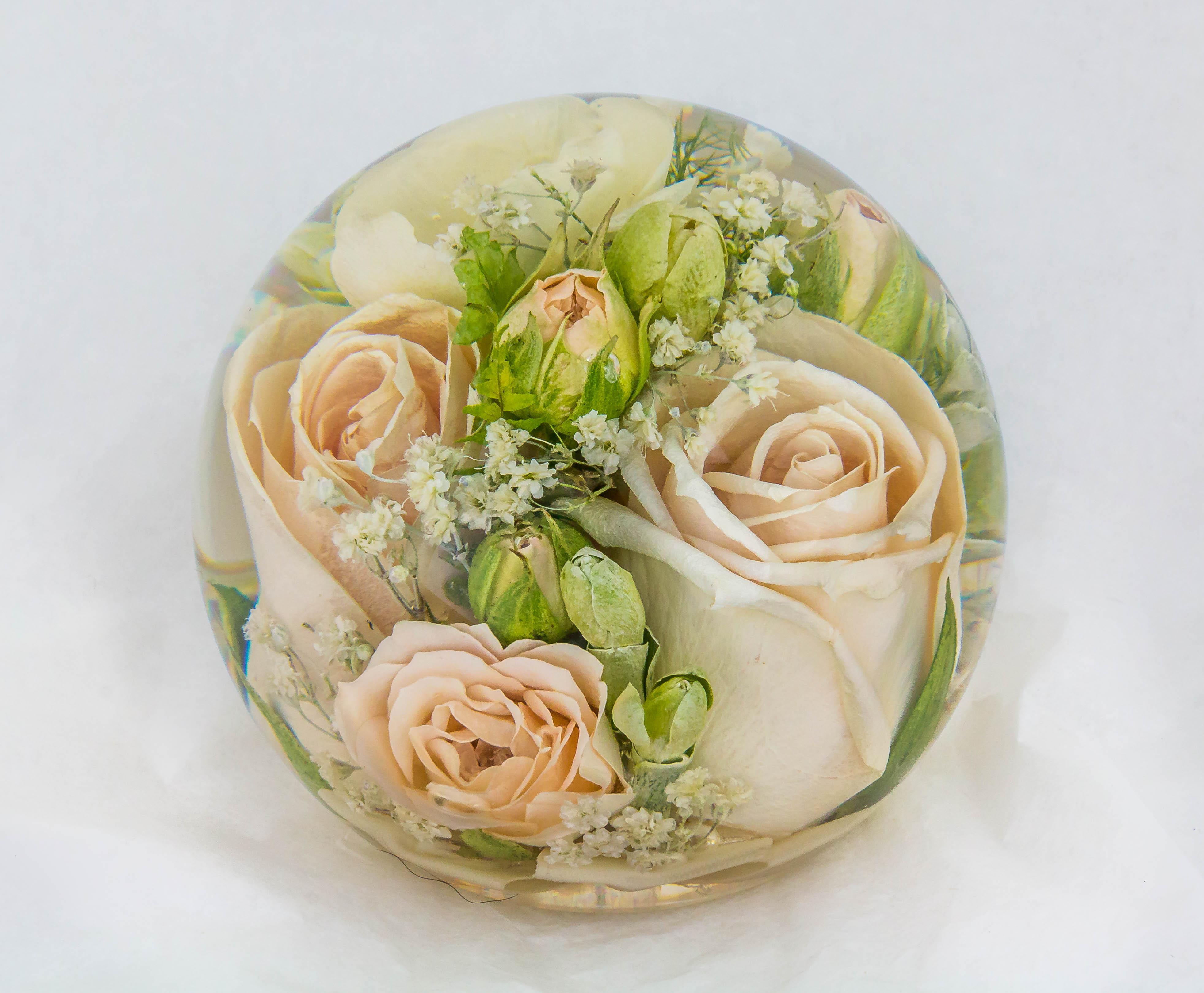 multi flower paperweight 3 5 inch flower preservation workshop