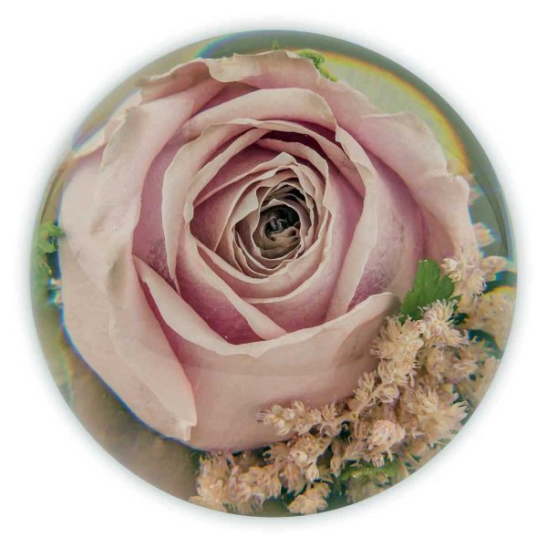 Ideally suited for many varieties of flowers ,but roses are gorgeous and look beautiful encapsulated within this size of paperweight. Each paperweight we design , it will be at the designers discretion as to which plant and flower material we can enclose as each paperweight is totally bespoke.